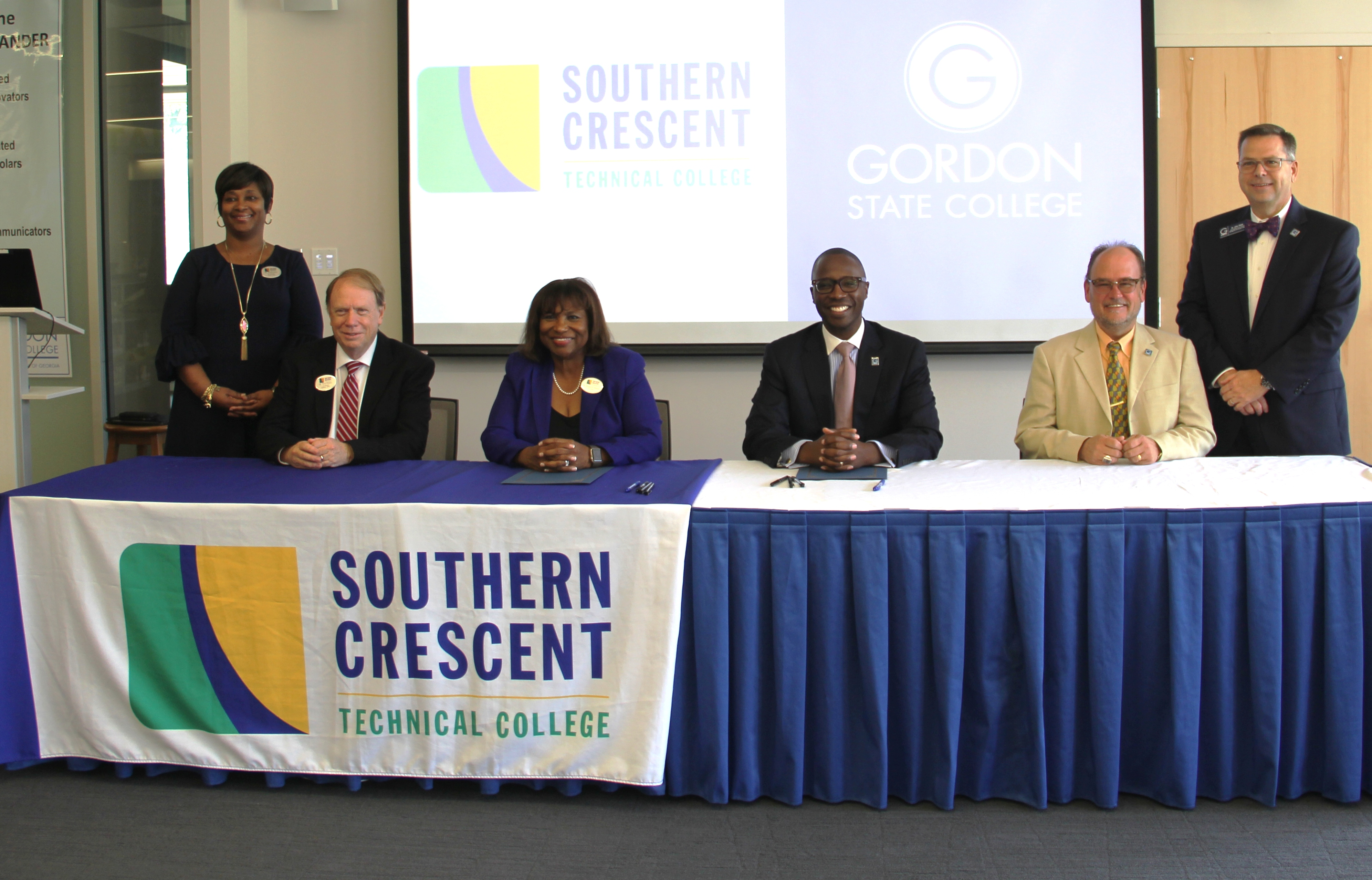 From left, representing Southern Crescent Technical College, Dr. Xenia Johns, Vice President for Student Affairs, Dr. Steve Pearce, Vice President for Academic Affairs, Dr. Alvetta P. Thomas, President, representing Gordon State College, President Dr. Kirk A. Nooks, Dr. Jeffery Knighton, Provost and Vice President for Academic Affairs, Dr. John Head, Vice Prsident for Enrollment Management and Student Affiars.