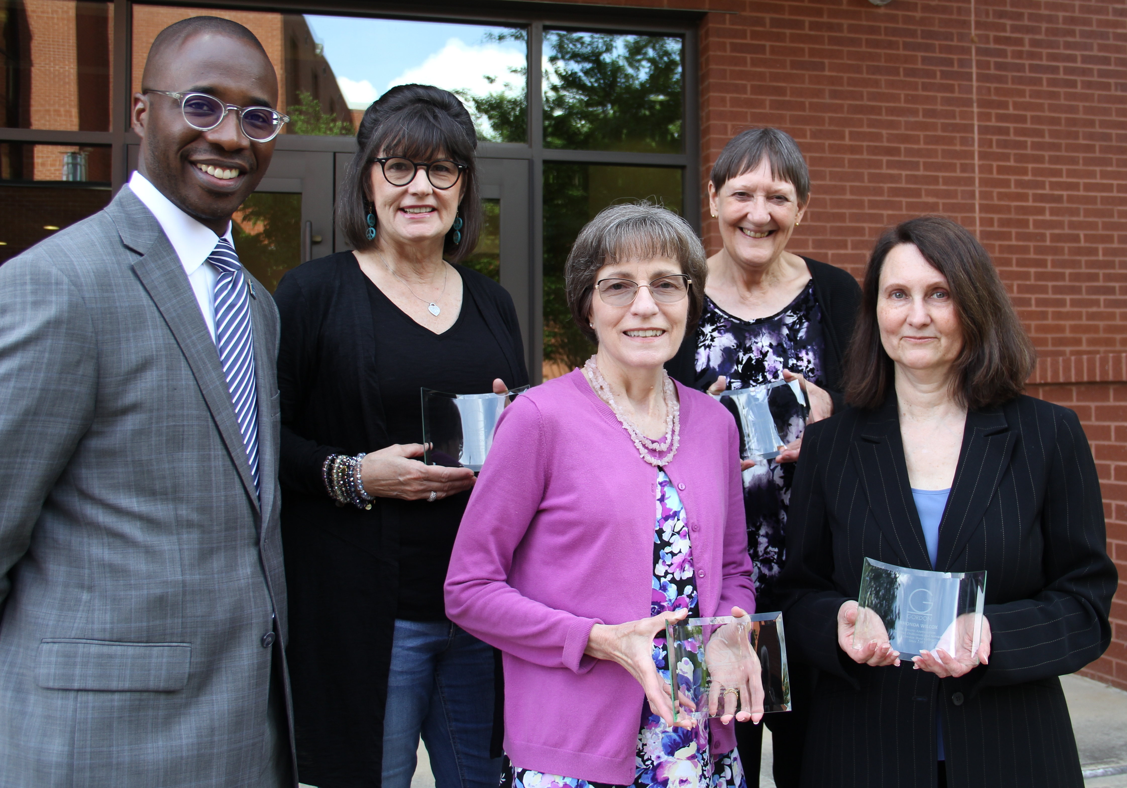 GSC President Dr. Kirk A. Nooks, Laura Bowen, Janet Barras, Anne Purvis and Rhonda Wilcox