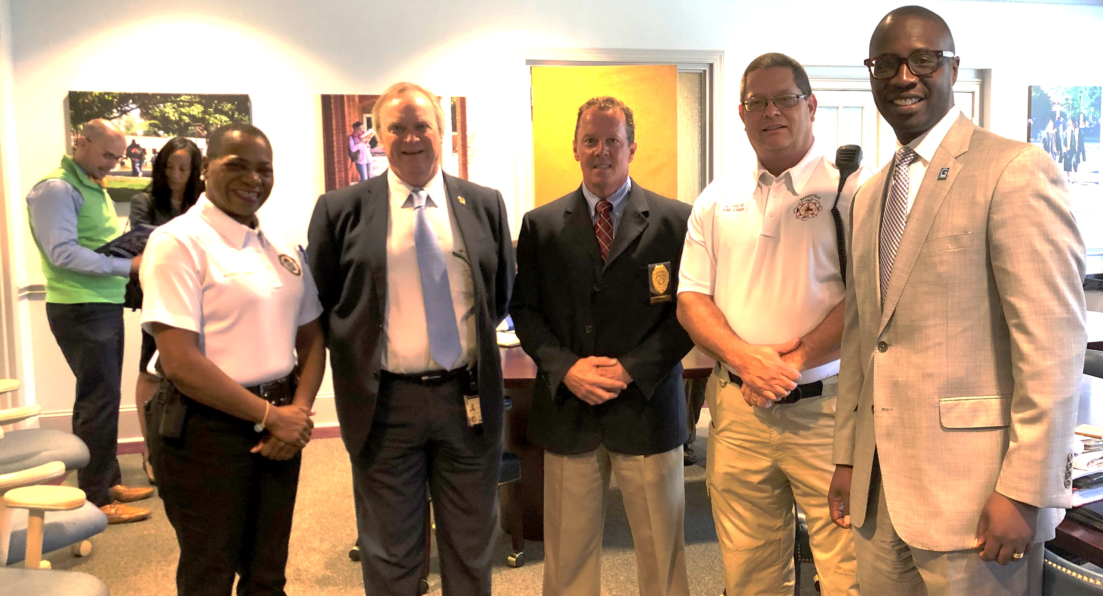 Maj. Leslie Jones, Lamar County Sheriff's Office, Bruce Holmes, University System of Georgia; GSC Police Chief Jeff Mason; Chief Kelvin Chute, Barnesville Fire Department, and GSC President Kirk A. Nooks.