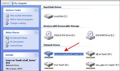 Screenshot of H: drive under My Computer