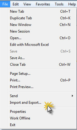 Internet Explorer File Menu with Import and Export highlighed