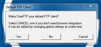 Screenshot of pop-up window asking to make CoreFTP your default FTP client