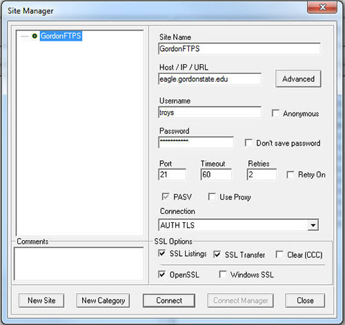 Screenshot of CoreFTP Site Manager dialog box