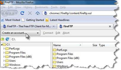 Screenshot of FireFTP - create an account button