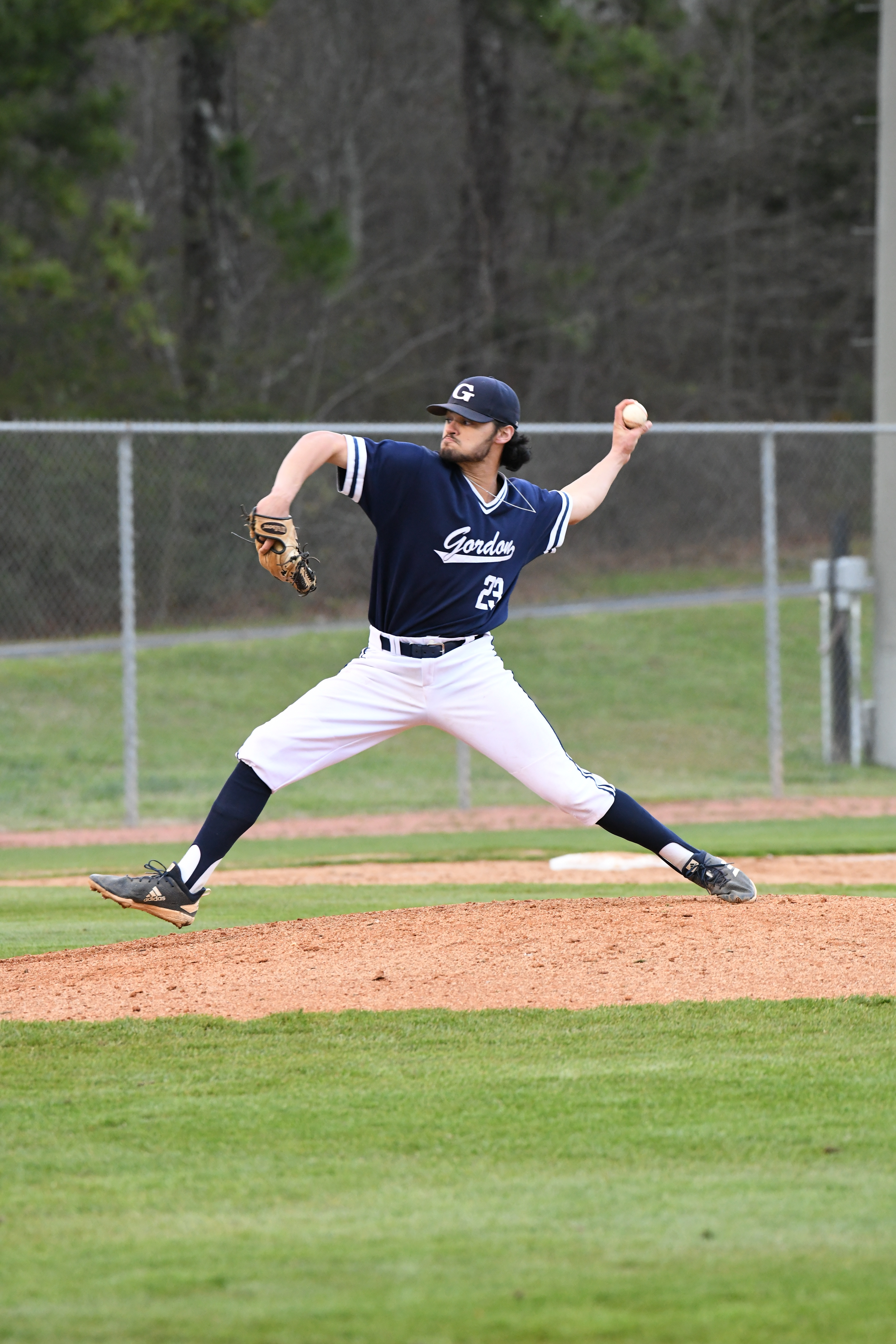 Freshman left-hander Jaxon O'Neal (Newnan, Ga. / Newnan HS) delivers a pitch for the Highlanders during the 2020 season.