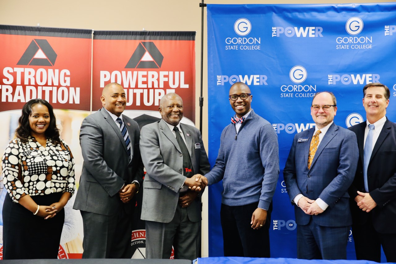From left, representing Albany Technical College, Lisa Stephens, Dean; Dr. Emmett Griswold, Vice President for Academic Affairs and Dr. Anthony Parker, President plus Gordon State College representatives Dr. Kirk A. Nooks, President; Dr. C. Jeffery Knighton, Provost & Vice President for Academic Affairs and Dr. Ric Calhoun, Assistant Vice President of Innovative Education & Strategic Initiatives.