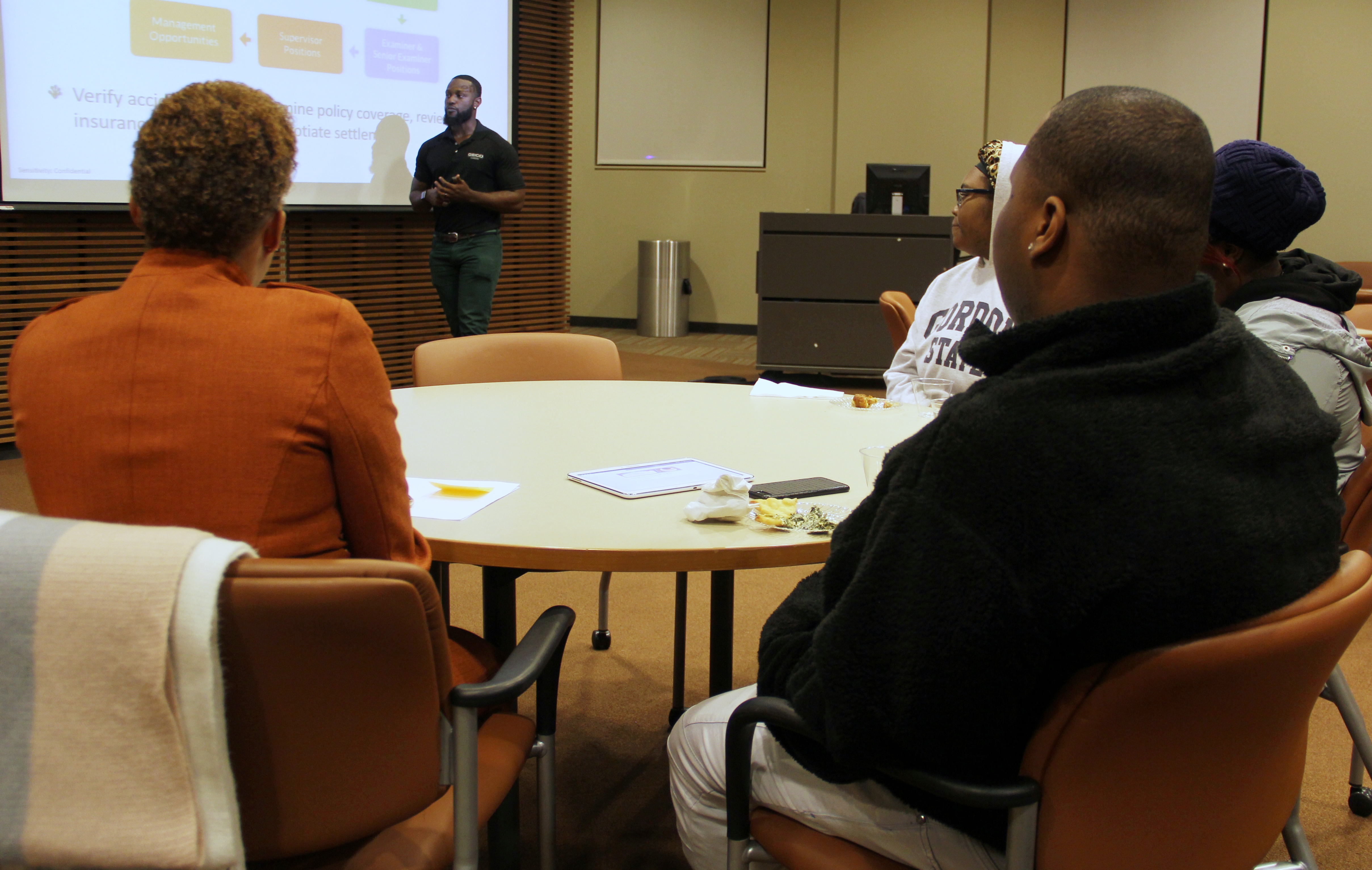 GEICO Campus Recruiter Darrius Baker addressed Gordon State College students.
