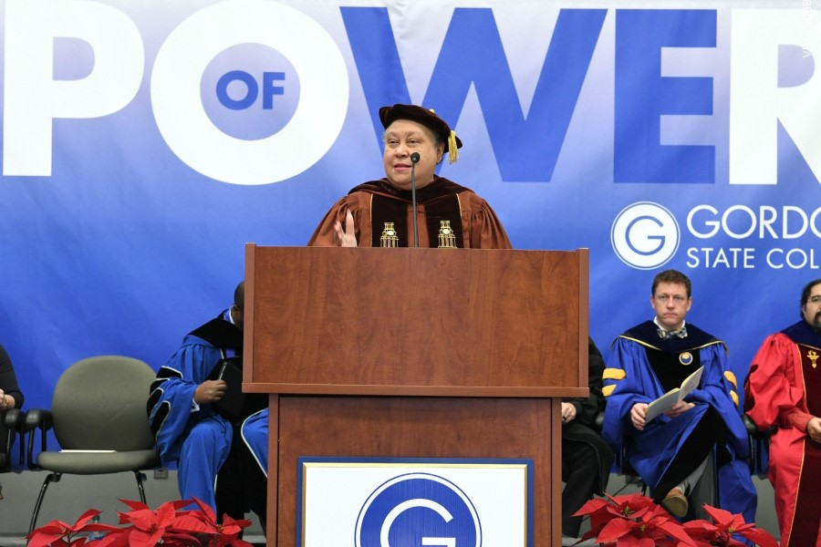 Dr. Belle S. Wheelan, Ph.D., President of the Southern Association of Colleges and Schools Commission on Colleges, addressed students in Gordon State College's Fall Commencement.