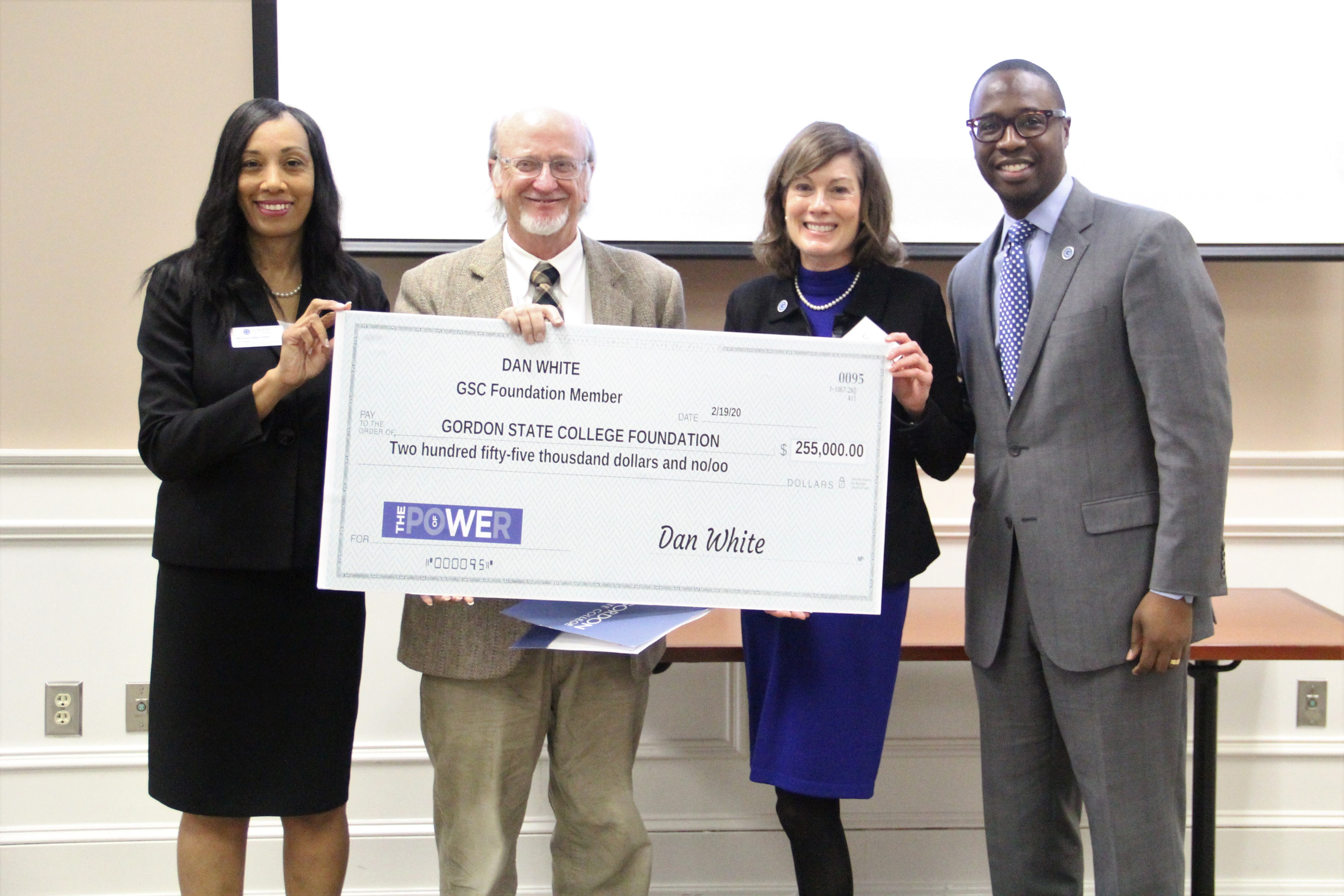 Montrese Adger Fuller, Vice President of Advancement, External Relations and Marketing and Executive Director of the Gordon State College Foundation; Dan White,  Donor and GSC Foundation Trustee; Lucinda Dallas, GSC Foundation Chair and President Kirk A. Nooks.