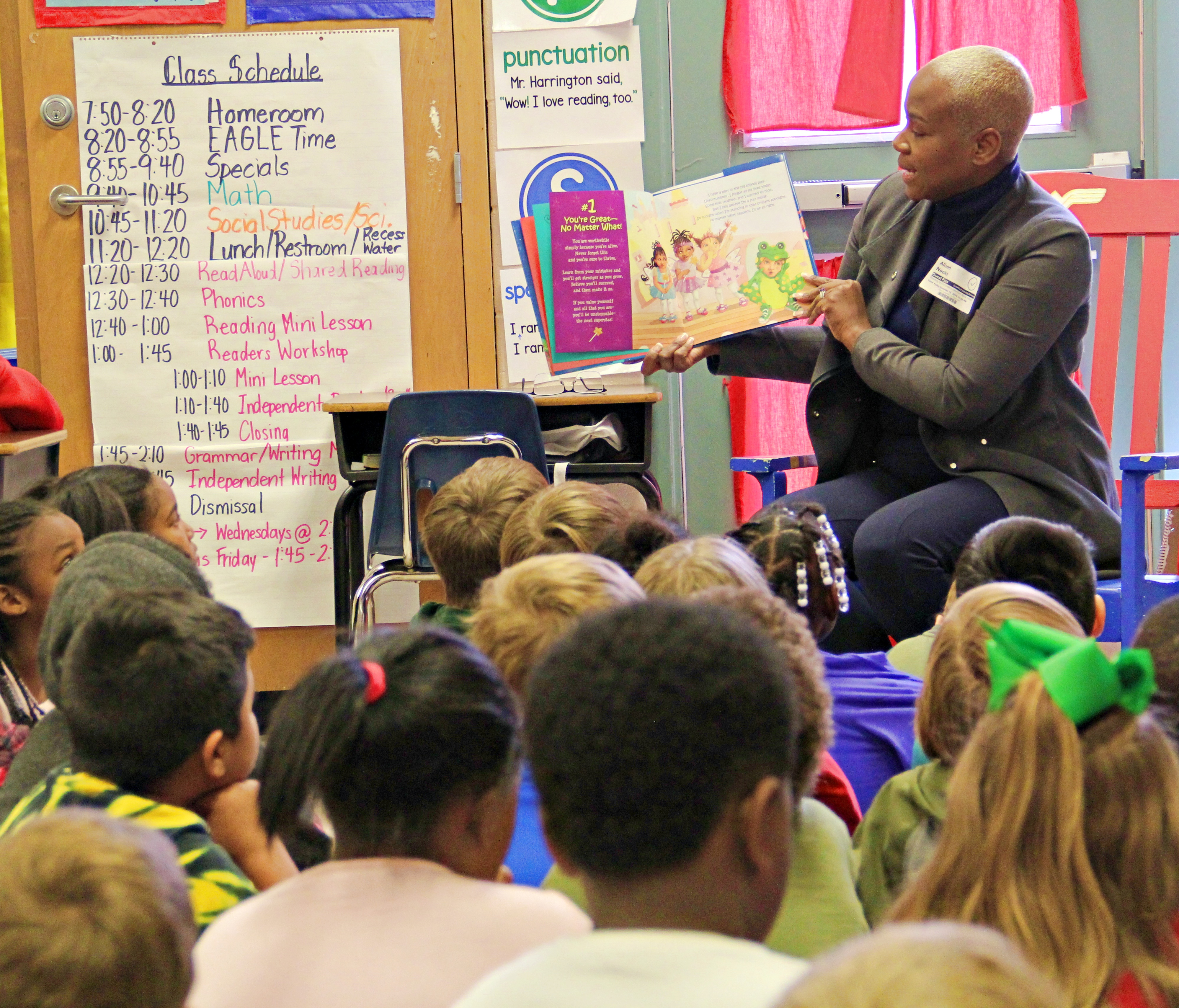 Gordon State College First Lady Alison N. Nooks reads to second-grade students at Crawford County Elementary School.