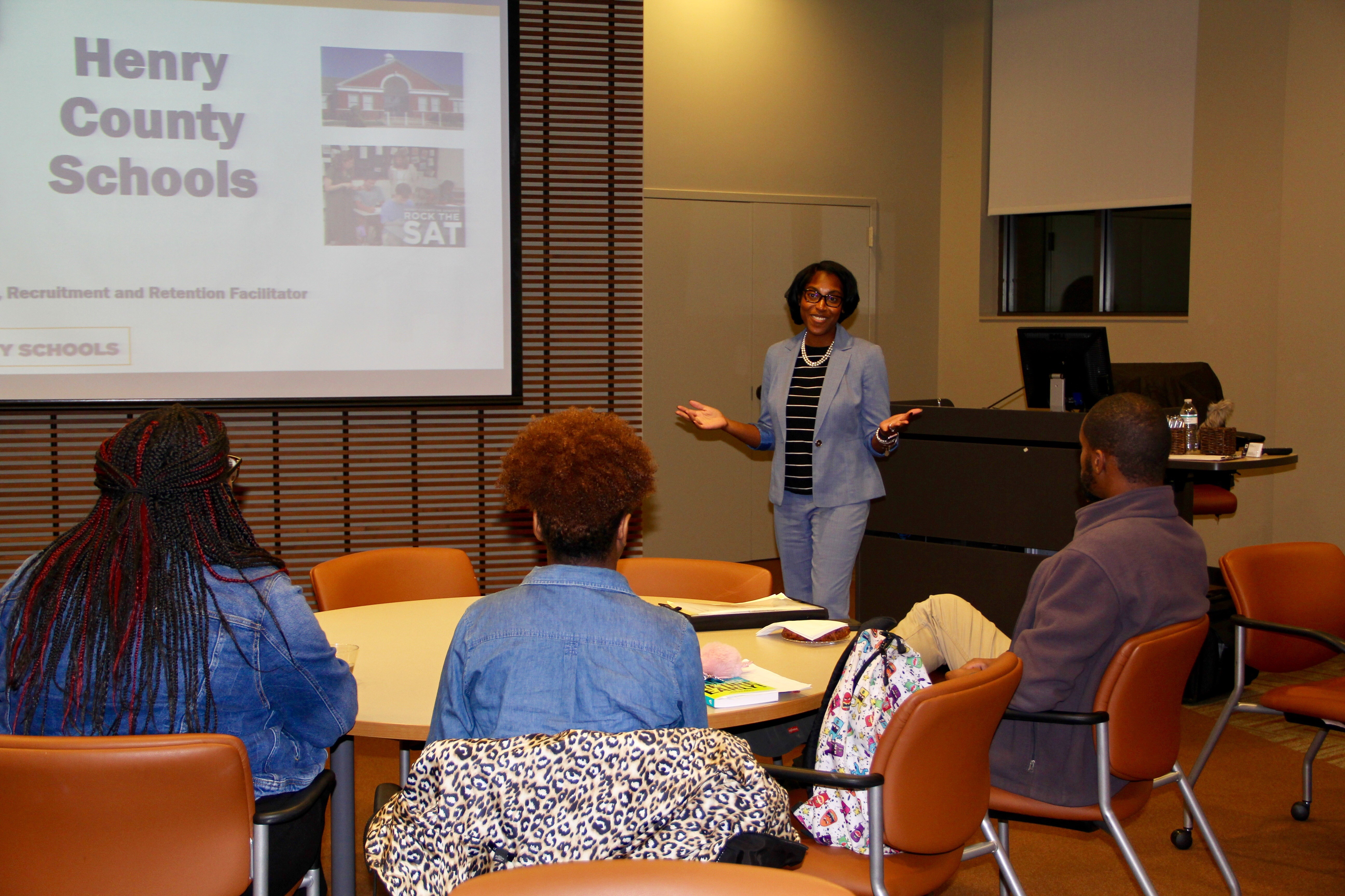Henry County Schools Recruitment and Retention Facilitator Shirell Neal addressed Gordon State College students.