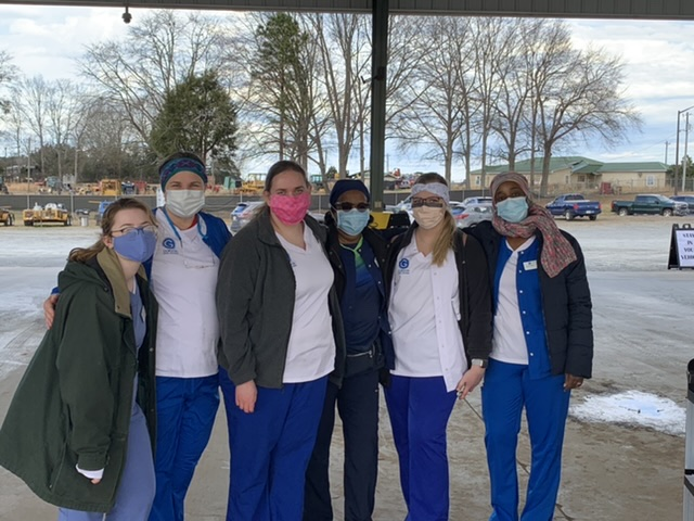Gordon State College students support District 4 Public Health COVID-19 vaccine delivery. Pictured L-R Chelsea Brown, Louise Pearson, Hannah Lewis, Betty Nwabuebo, Hailey Rollins and Altricia Martin.